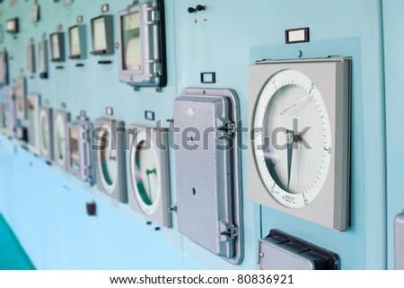 Control panel with instrumentation. Control room.