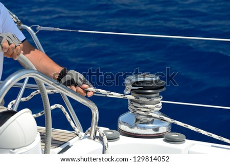 control technology on sailing boat - stock photo