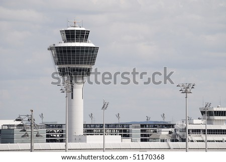 Control tower of an airport - stock photo