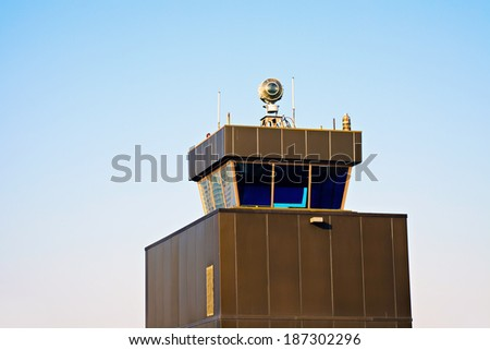 Control Tower - old airport in Chicago, Illinois. - stock photo