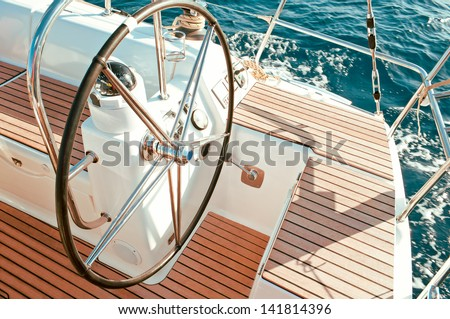 control wheel sailing yacht without people - stock photo