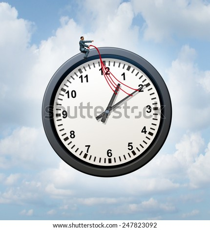 Control your time concept and taking charge of your business schedule symbol as a businessman providing guidance to a flying clock metaphor in the sky. - stock photo