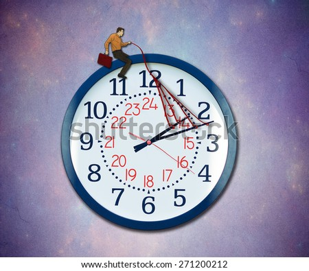 Control your time concept. Businessman taking charge of business schedule providing guidance to a flying clock metaphor in the sky. - stock photo