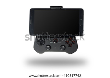 controller with smart phone isolated clipping path - stock photo