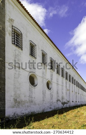 Convent of St. Benedict of Castris, a national monument in the municipality of Evora, Alentejo region. Portugal. The Monastery of the Cistercian Order, was founded in 1274, by D.Urraca Ximenes.  - stock photo