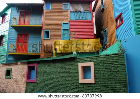 Conventillos in La Boca Neighborhood of Buenos Aires - stock photo