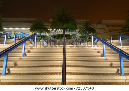convention center steps at night in Tampa, Florida - stock photo