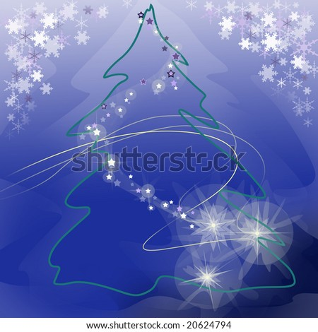 conventionalized  fir with a lights, snowflakes, new, year, decoration, eve, stylization; tree