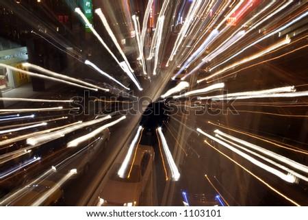 Converging Lights - stock photo