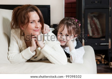 conversation between mother and daughter - stock photo