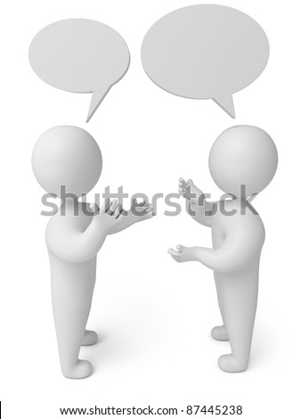 conversation, 3d render person - stock photo