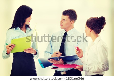 Conversation of business group. - stock photo