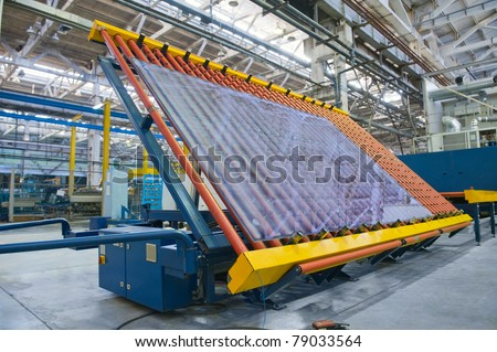 Conveyor belt for a window pane - stock photo