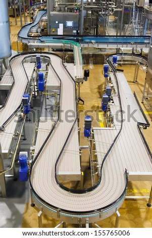 conveyor belt for food industry, beverage - stock photo