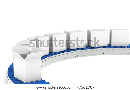 Conveyor Belt, Front View. Conveyor Belt, one open Box. Blue and steel. Part of Blue warehouse and logistics series.