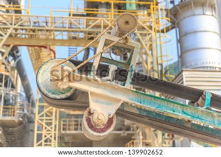 Conveyor belt of lime industry - stock photo