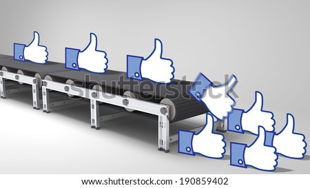 conveyor belt with like buttons  for use in presentations, manuals, design, etc. - stock photo