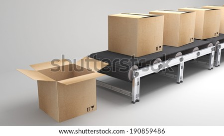 conveyor belt with opend carton for use in presentations, manuals, design, etc. - stock photo