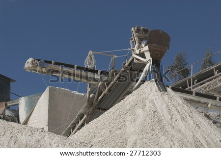 Conveyor on site at gravel pit - Portugal - Europe - stock photo