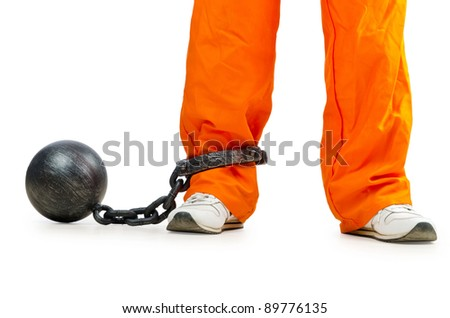 Convict with handcuffs on white - stock photo