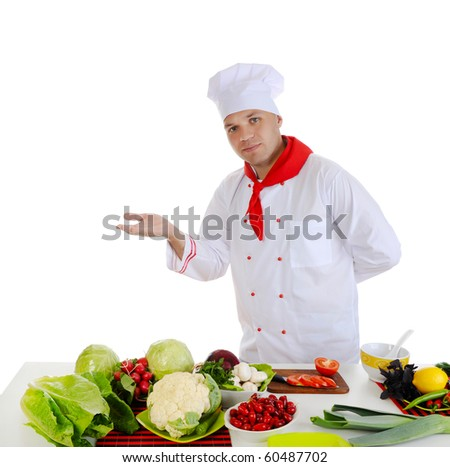 Cook at restaurant. Isolated on white background