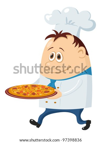 Cook, cartoon chef with pizza isolated over a white background - stock photo