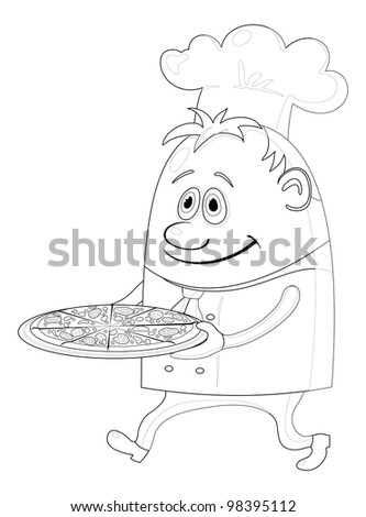 Cook, cartoon chef with pizza isolated over a white background, contour - stock photo