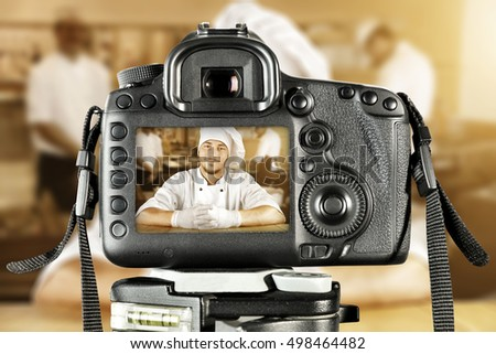 cook chef and black camera