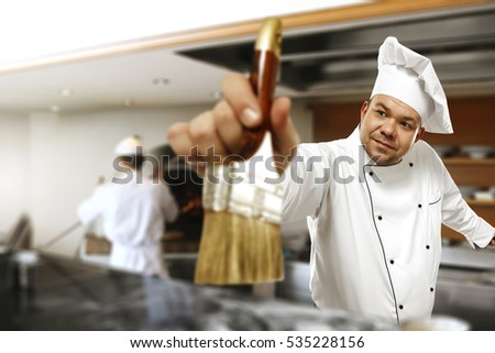 Cook chef in kitchen and funny time