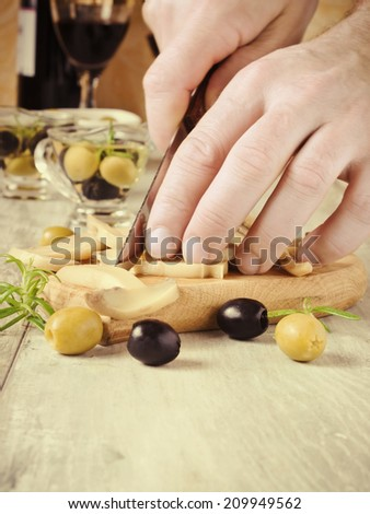 cook chops marinated mushrooms on a cutting board.selective focus. health and diet.toning in retro style - stock photo