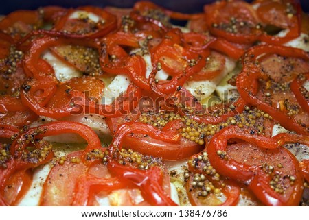 cook dish casserole with red bell pepper and mustard - stock photo