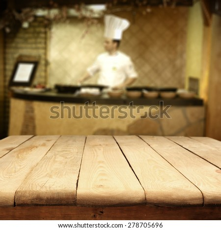 cook hat and man in kitchen and retro table  - stock photo