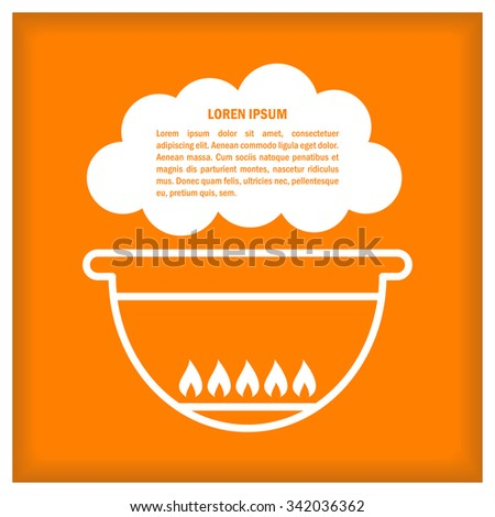 Cook Icon. Barbecue. Illustration with text place for signs, icons, logotypes, menu and recipes - stock photo