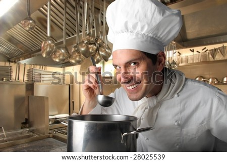 cook in a restaurant kitchen - stock photo