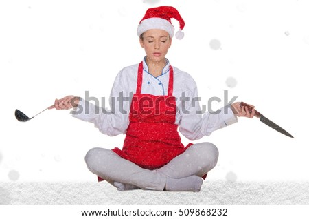 Cook in Santa Claus hat, yoga, knives and snow on white background