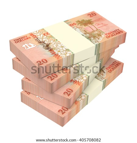 Cook Islands bills isolated on white background. 3D illustration.