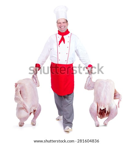 Cook leads gutted chickens on a white background - stock photo