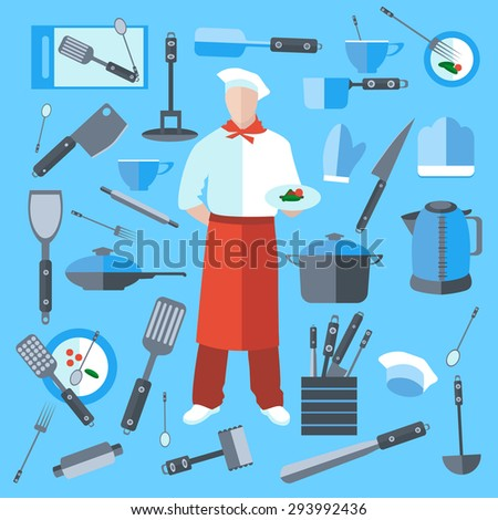 Cook with dish in hand. A set of kitchen utensils in a flat style. Isolated kitchenware, kettle, frying pan, saucepan. The modern concept of icons for your design. Isolated  illustration - stock photo