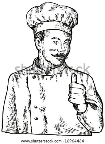 Cook with his thumbs up - stock photo