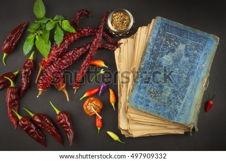 Cookbook chillies recipe spicy food mexican stock photo edit now cookbook and chillies recipe for spicy food mexican cuisine food preparation according to forumfinder Images