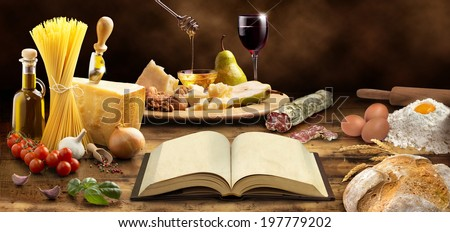 cookbook and ingredients of the mediterranean cuisine - stock photo