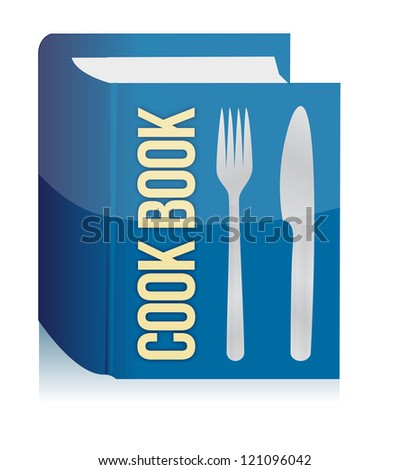 cookbook and kitchenware illustration design over a white background - stock photo
