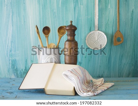 cookbook,old kitchen utensils, free copy space - stock photo