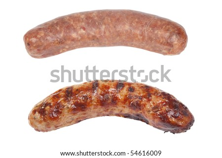cooked and raw sausage isolated on white background - stock photo