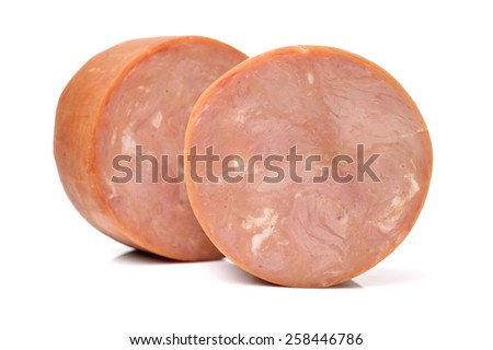 cooked boiled ham sausage on white background - stock photo