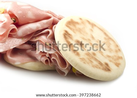 cooked boiled ham sausage or rolled bologna slices - stock photo