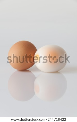 Cooked eggs on a white background