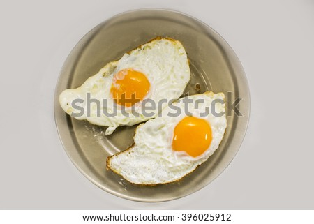 Cooked eggs on  plate