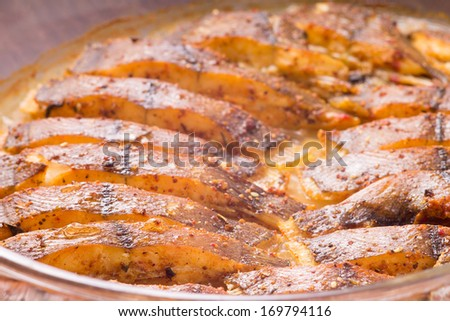Cooked fish with spices baked  in oven