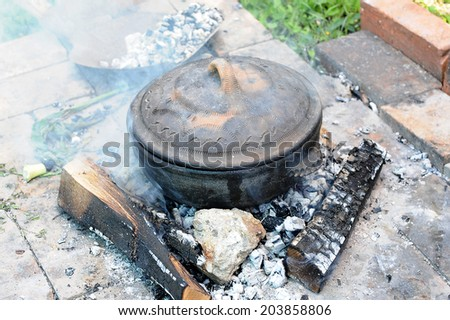 cooked in a clay court grilled - stock photo